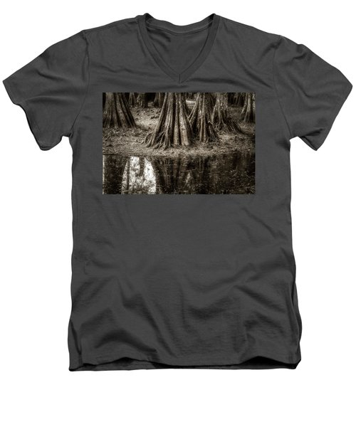 Cypress Island Men's V-Neck T-Shirt by Andy Crawford