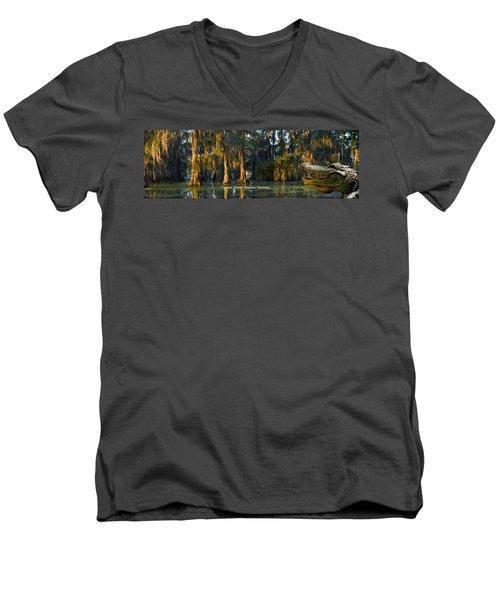 Cypress Island Gator Men's V-Neck T-Shirt by Kimo Fernandez
