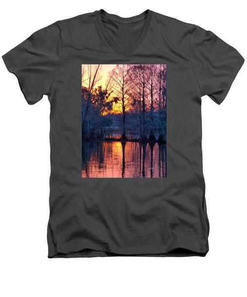 Cypress Sunrise Men's V-Neck T-Shirt by Kimo Fernandez
