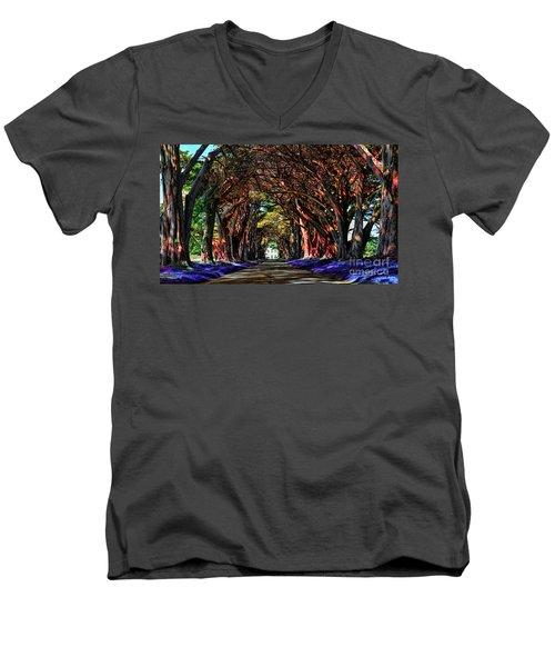 Cypress Tree Tunnel Men's V-Neck T-Shirt by Jason Abando