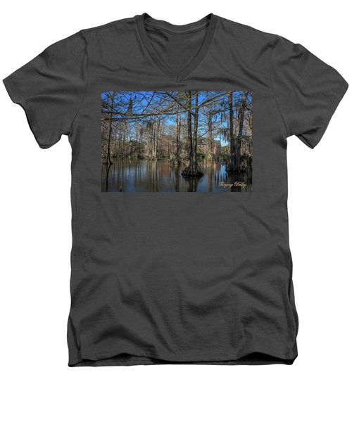 Men's V-Neck T-Shirt featuring the photograph Cyprus Lake 2 by Gregory Daley  PPSA
