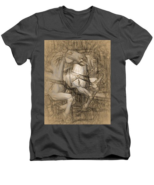 Da Vinci Carousel Men's V-Neck T-Shirt