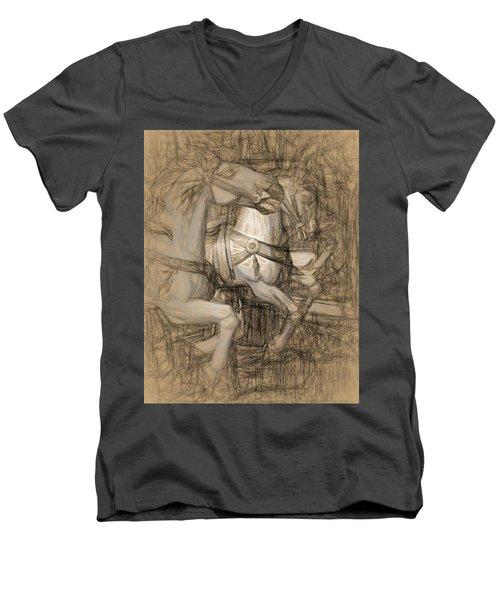Da Vinci Carousel Men's V-Neck T-Shirt