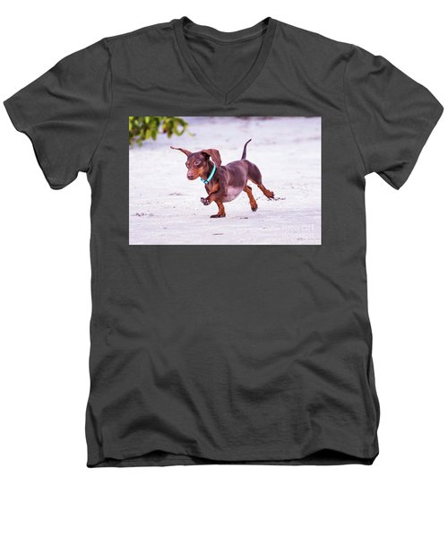 Dachshund On Beach Men's V-Neck T-Shirt