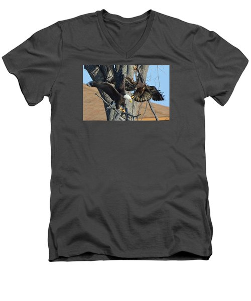 Men's V-Neck T-Shirt featuring the photograph Dad And Junior With Fish by Coby Cooper