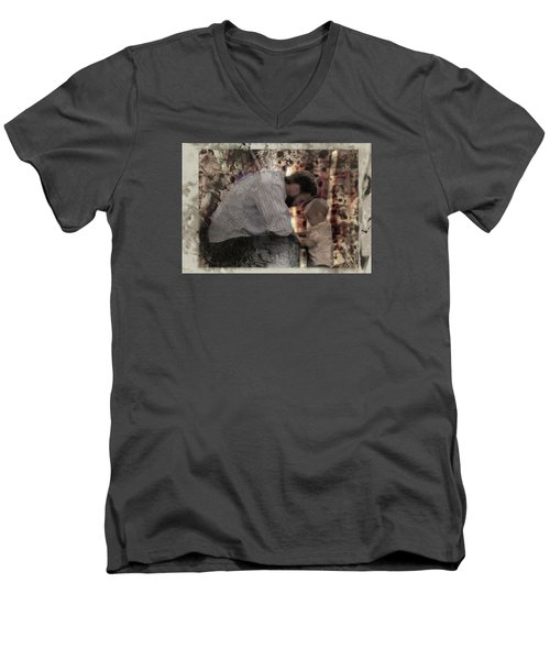 Men's V-Neck T-Shirt featuring the photograph Daddys Hands by Kate Word