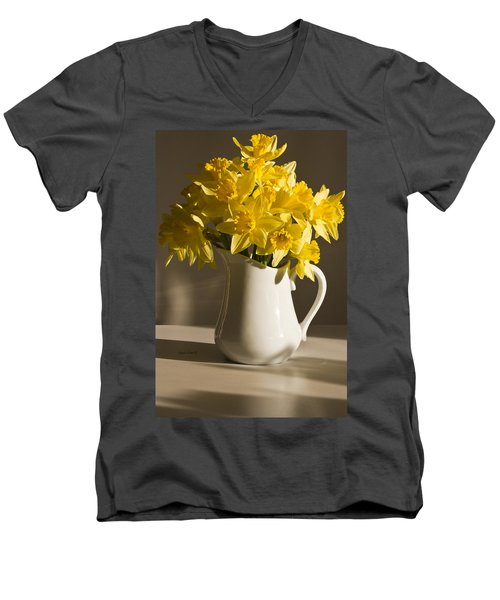 Daffodil Filled Jug Men's V-Neck T-Shirt by Sandra Foster