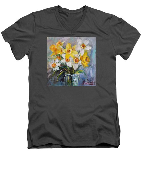 Men's V-Neck T-Shirt featuring the painting Daffodil In Spring  by Jennifer Beaudet