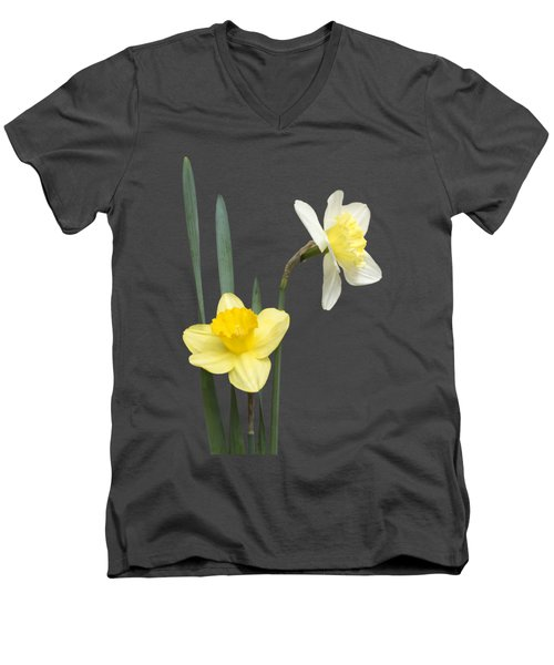 Men's V-Neck T-Shirt featuring the photograph Daffodil Pair - Transparent by Nikolyn McDonald