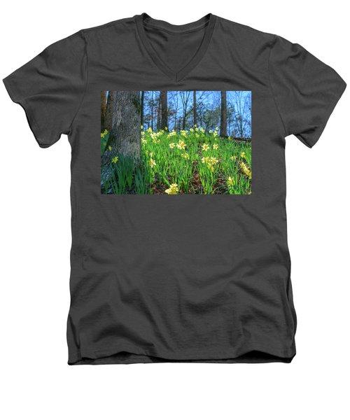 Daffodils On Hillside 2 Men's V-Neck T-Shirt
