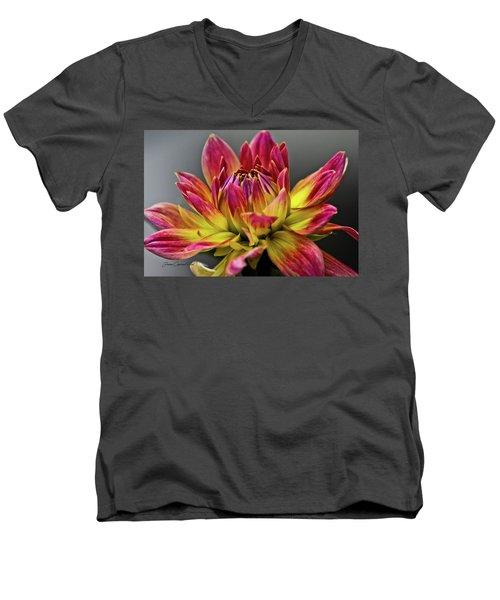 Men's V-Neck T-Shirt featuring the photograph Dahlia Flame by Joann Copeland-Paul