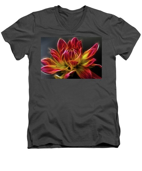 Dahlia Men's V-Neck T-Shirt by Joann Copeland-Paul