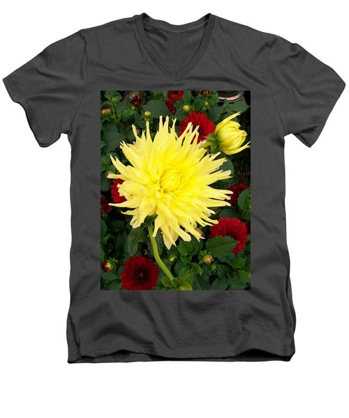 Men's V-Neck T-Shirt featuring the photograph Dahlia's by Sharon Duguay