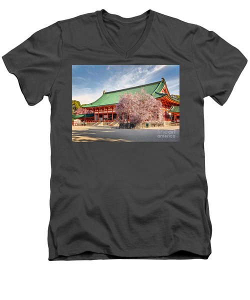 Daigukuden Main Hall Of Heian Jingu Shrine Men's V-Neck T-Shirt