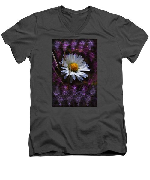 Men's V-Neck T-Shirt featuring the photograph Dainty Daisy by Adria Trail