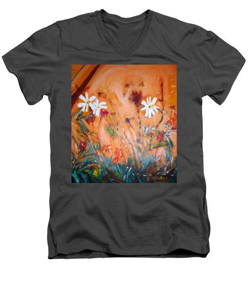 Men's V-Neck T-Shirt featuring the painting Daisies Along The Fence by Winsome Gunning