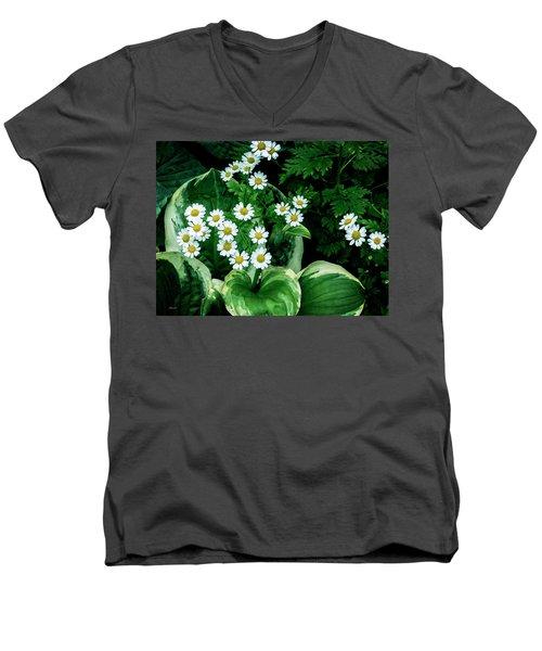 Daisies And Hosta In Colour Men's V-Neck T-Shirt