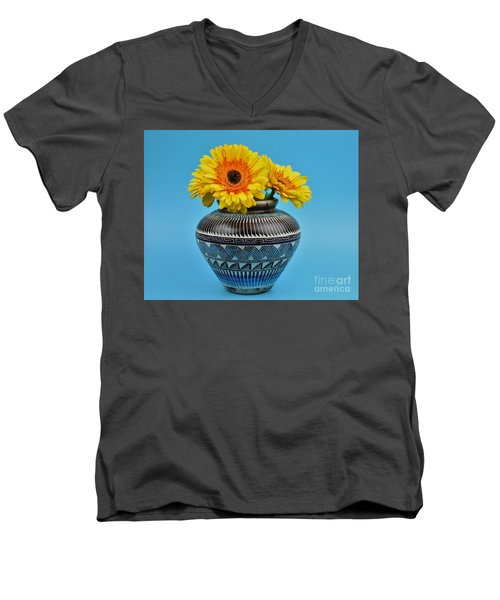 Daisies Displayed In Navajo Native American Vase Men's V-Neck T-Shirt by Ray Shrewsberry