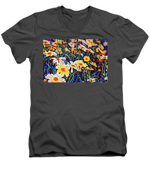 Men's V-Neck T-Shirt featuring the photograph Daisy Dream by Geri Glavis