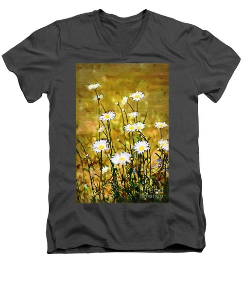 Men's V-Neck T-Shirt featuring the photograph Daisy Field by Donna Bentley