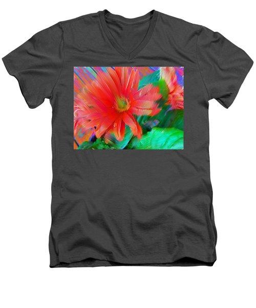 Daisy Fun Men's V-Neck T-Shirt by Karen Nicholson