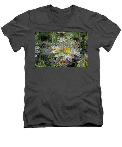 Daisy Mystique 8 Men's V-Neck T-Shirt by Lynda Lehmann