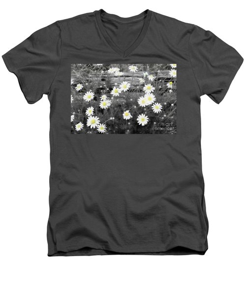 Men's V-Neck T-Shirt featuring the photograph Daisy Patch by Benanne Stiens