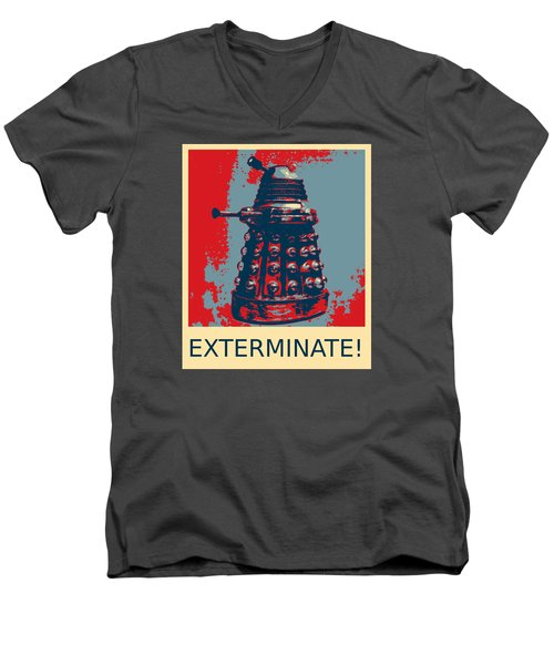 Dalek - Exterminate Men's V-Neck T-Shirt by Richard Reeve