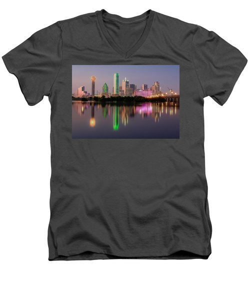 Dallas City Reflection Men's V-Neck T-Shirt