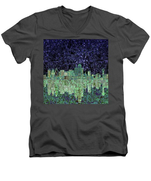 Dallas Skyline Abstract 4 Men's V-Neck T-Shirt