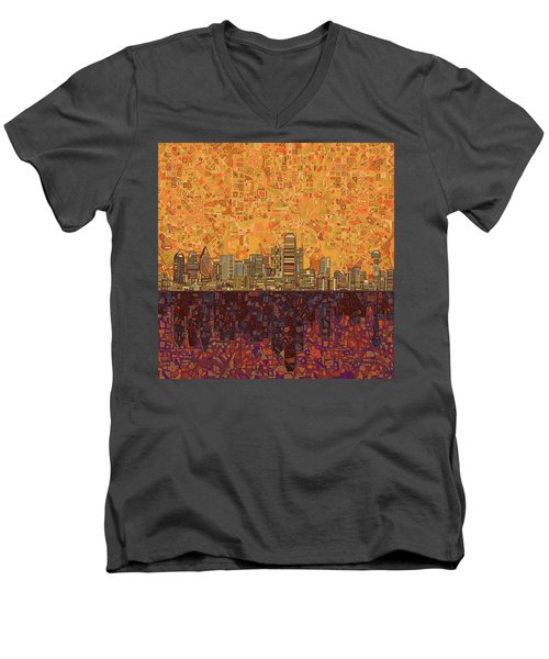 Dallas Skyline Abstract Men's V-Neck T-Shirt