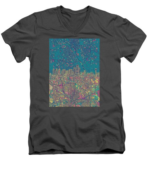 Dallas Skyline Map Green Men's V-Neck T-Shirt