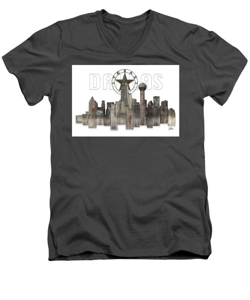 Dallas Texas Skyline Men's V-Neck T-Shirt by Doug Kreuger