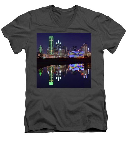 Men's V-Neck T-Shirt featuring the photograph Dallas Texas Squared by Frozen in Time Fine Art Photography