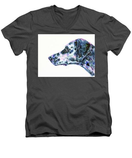 Men's V-Neck T-Shirt featuring the painting Dalmatian by Zaira Dzhaubaeva