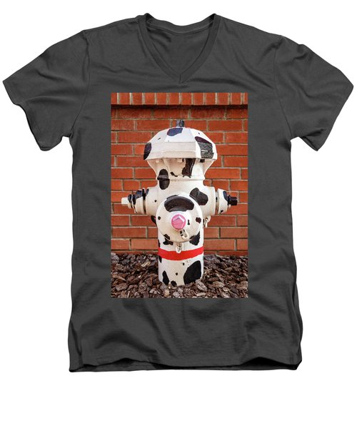 Men's V-Neck T-Shirt featuring the photograph Dalmation Hydrant by James Eddy