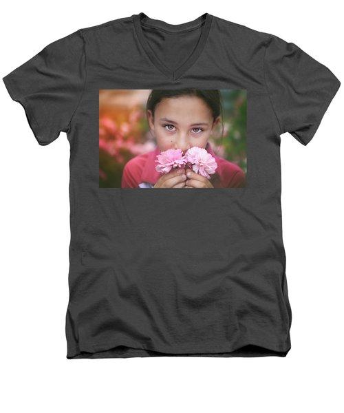 Damask Roses Men's V-Neck T-Shirt