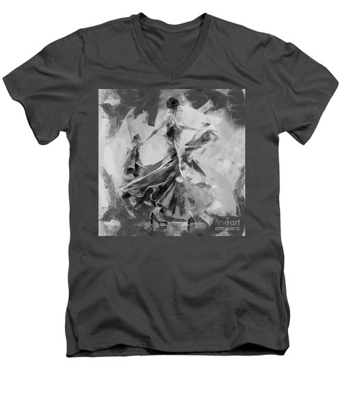 Men's V-Neck T-Shirt featuring the painting Dance Flamenco 01 by Gull G