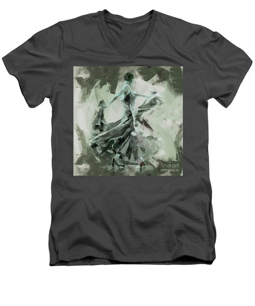 Men's V-Neck T-Shirt featuring the painting Dance Flamenco Art  by Gull G