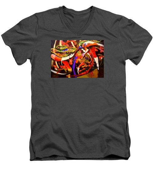 Men's V-Neck T-Shirt featuring the painting Dance Frenzy by Georg Douglas