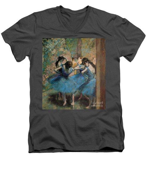 Dancers In Blue Men's V-Neck T-Shirt