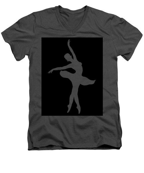Dancing Ballerina White Silhouette Men's V-Neck T-Shirt by Irina Sztukowski