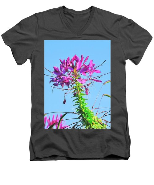 Men's V-Neck T-Shirt featuring the photograph Dancing Cleome by Debbie Stahre