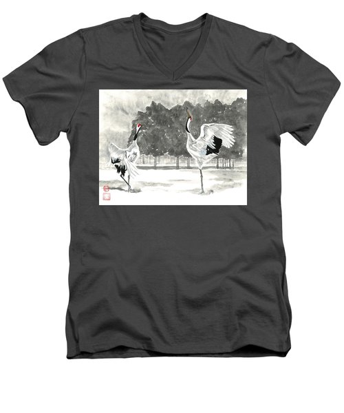 Dancing Crane II Men's V-Neck T-Shirt