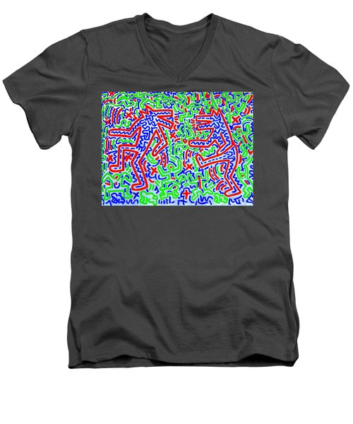 Dancing Dogs After Keith Haring 1958-90 Men's V-Neck T-Shirt