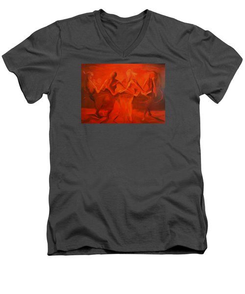 Men's V-Neck T-Shirt featuring the painting Dancing In The Gloaming by Georg Douglas