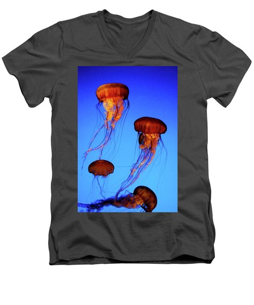 Men's V-Neck T-Shirt featuring the photograph Dancing Jellyfish by Anthony Jones