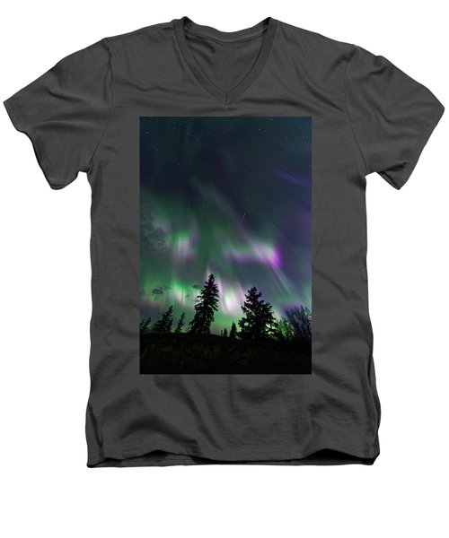 Dancing Lights Men's V-Neck T-Shirt by Dan Jurak
