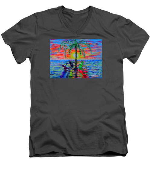 Men's V-Neck T-Shirt featuring the painting Dancing Snowman by Viktor Lazarev
