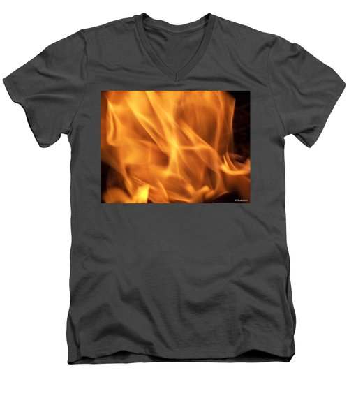 Men's V-Neck T-Shirt featuring the photograph Dancing With Fire by Betty Northcutt